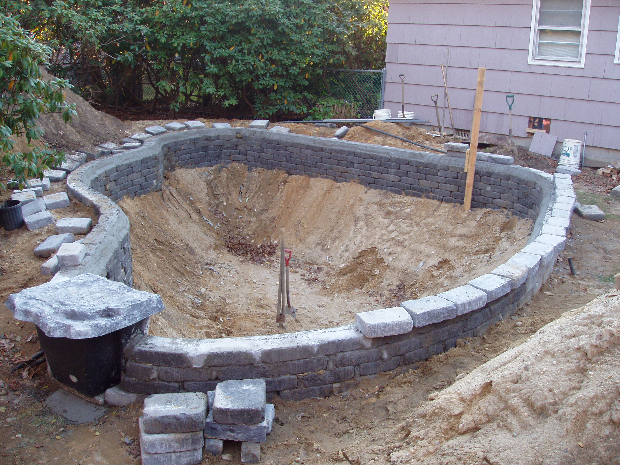 New pond construction for Fish pond design